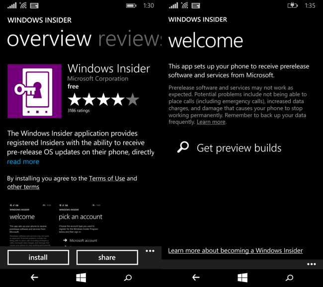 Installazione di Windows Insider sullo smartphone