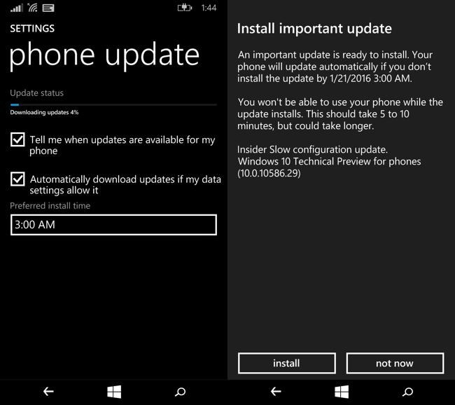 Schermata durante l'aggiornamento a Windows 10