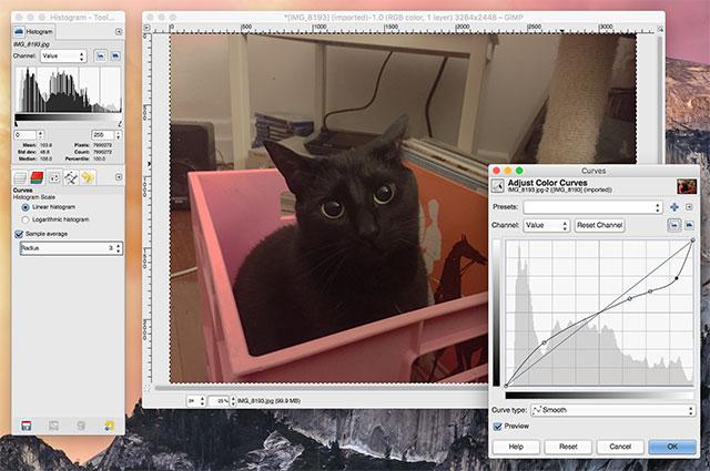 Interfaccia del programma GIMP per Mac