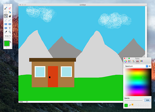 Interfaccia del programma Paintbrush per Mac
