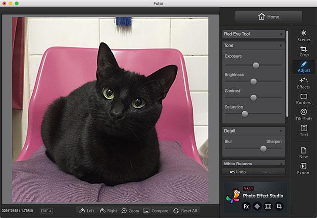 Interfaccia del programma Fotor per Mac