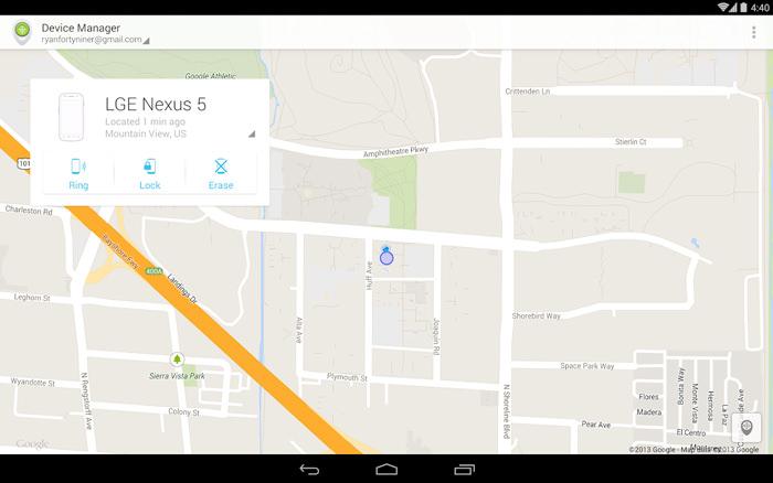 Mappa di Android Device Manager per rintracciare un cellulare perso o rubato
