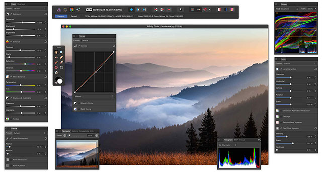 Interfaccia grafica del programma Affinity Photo per Mac
