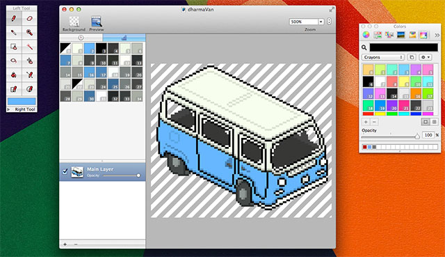 Interfaccia grafica di Pixen per Mac