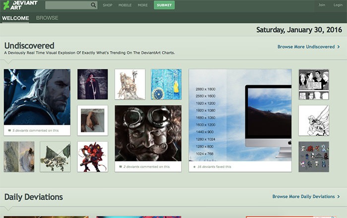 Immagine del sito DeviantArt
