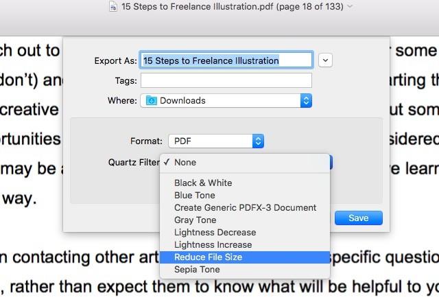 Schermata del programma Anteprima di Mac OS X per comprimere PDF