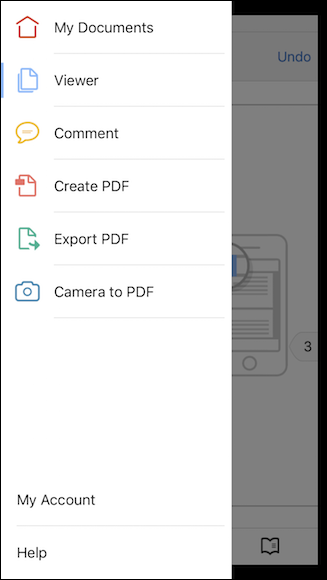 Schermata dell'app Adobe Acrobat per iPhone e iPad