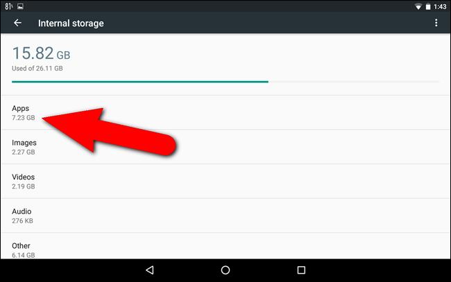 Lista dei tipi di file che occupano spazio su Android