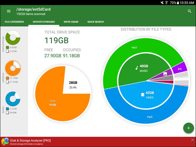 Sezione con i particolari di tutto lo spazio occupato sulla scheda SD del tuo smartphone Android