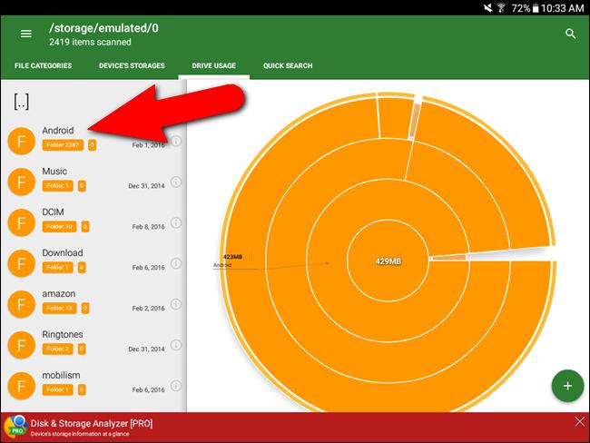 Schermata con le varie sezioni di Android e del relativo spazio occupato