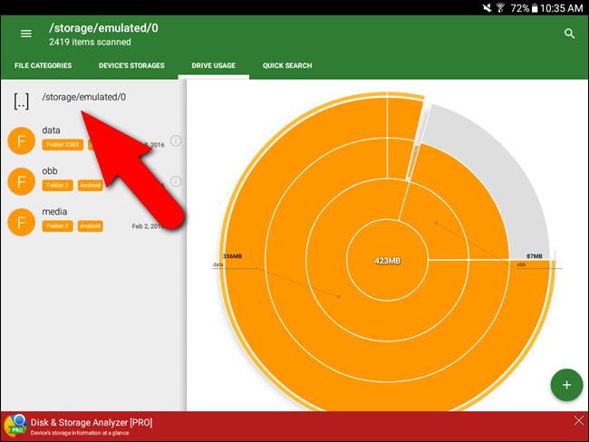 Sezione delle sottocartelle e dei file che occupano spazio su Android