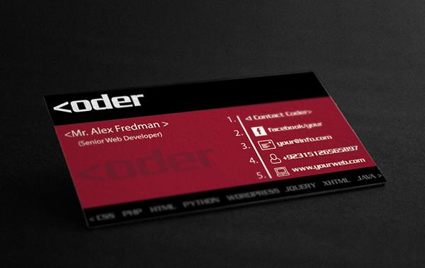 Template del primo biglietto da visita per sviluppatori web