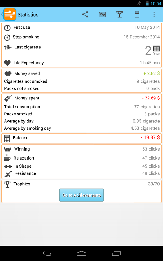 Schermata dell'app Breathe – Quit Smoking LITE per Android