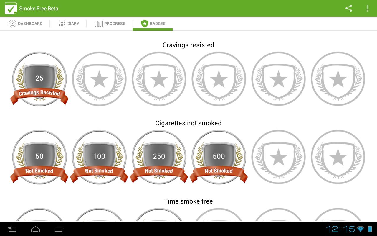 Schermata dell'app Smoke Free per Android