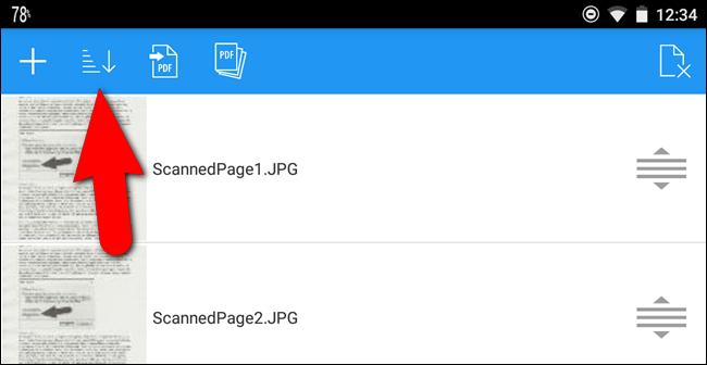 Icona per ordinare i file