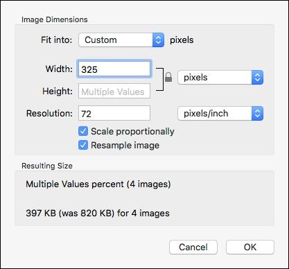 Scelta delle nuove dimensioni delle nostre immagini