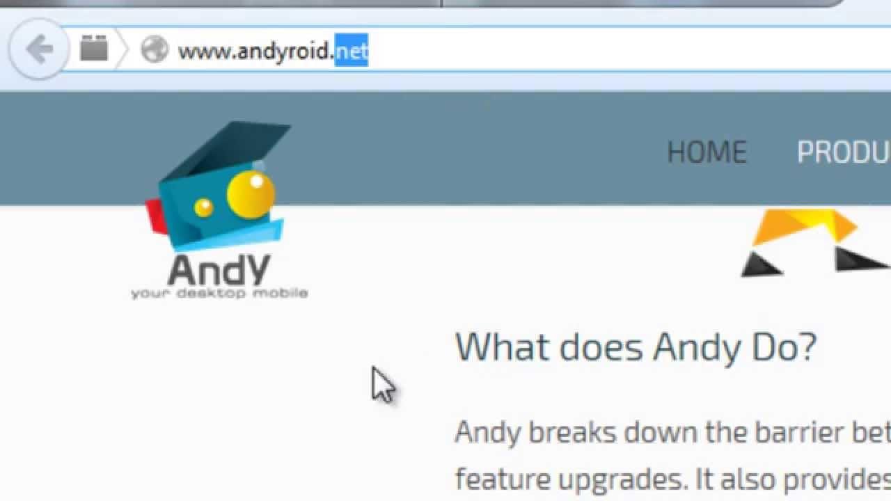 Schermata dell'emulatore Andy