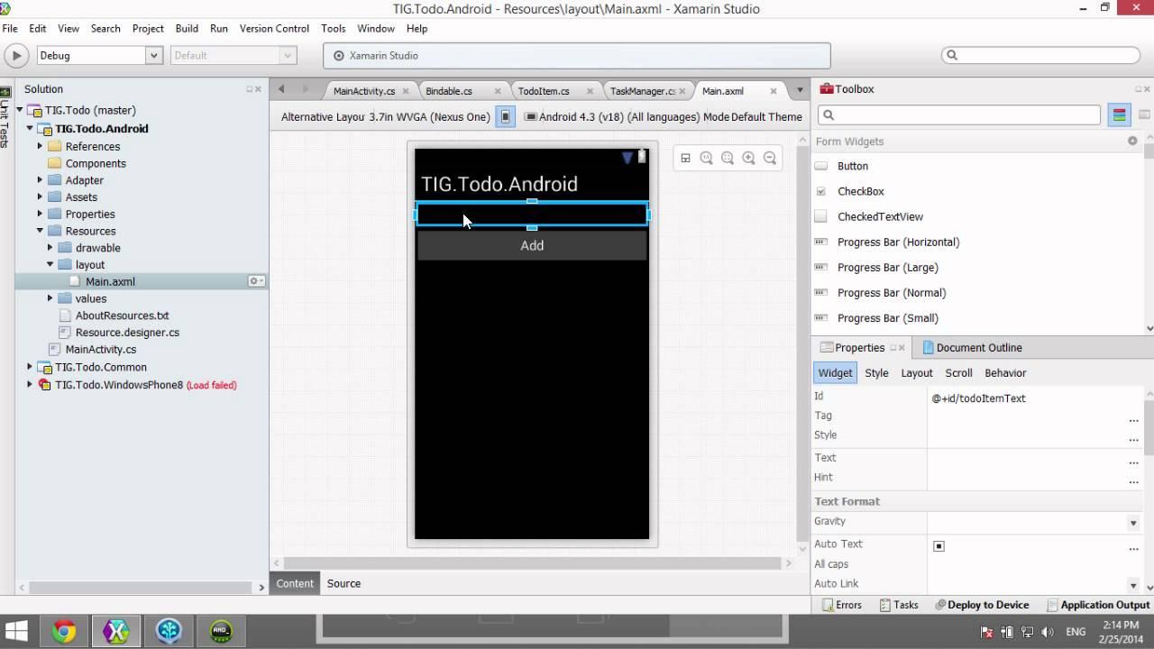 Schermata dell'emulatore Xamarin Android Player per Android