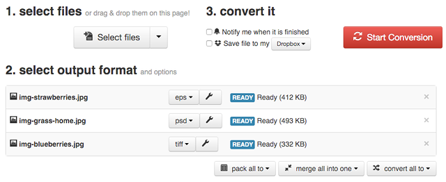 Convertire le immagini online con CloudConvert