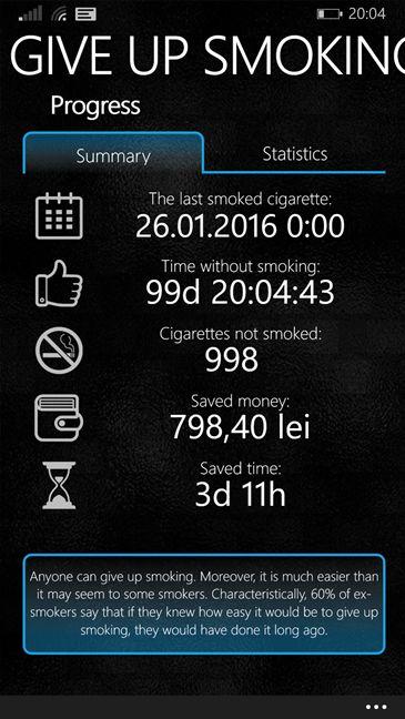 Smettere di fumare con l'App Give Up Smoking