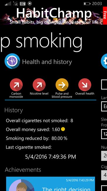 Smettere di fumare con l'App Stop Smoking Helper