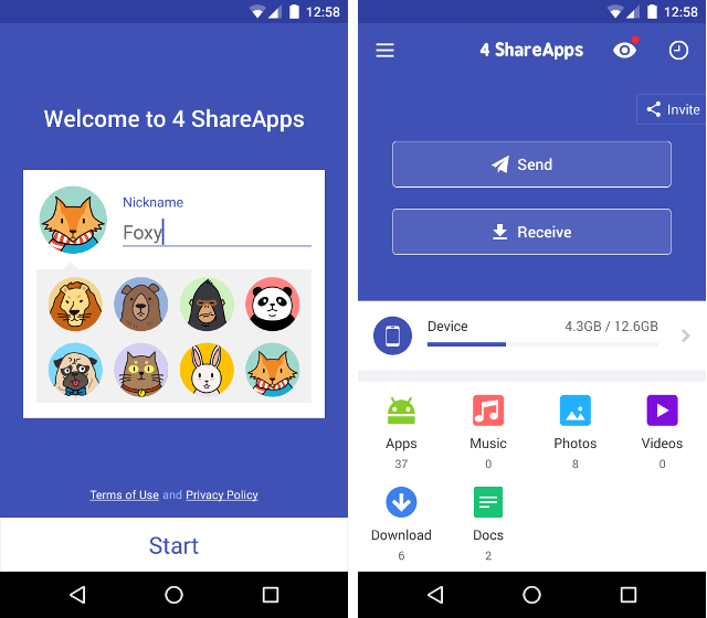 Trasferire file tra dispositivi Android con 4Share Apps