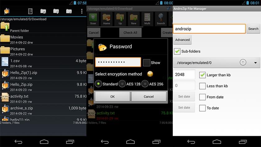 Aprire file ZIP e RAR su Android con AndroZip