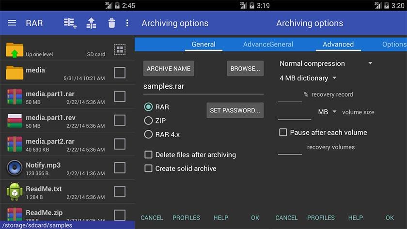 Aprire file ZIP e RAR su Android con RAR