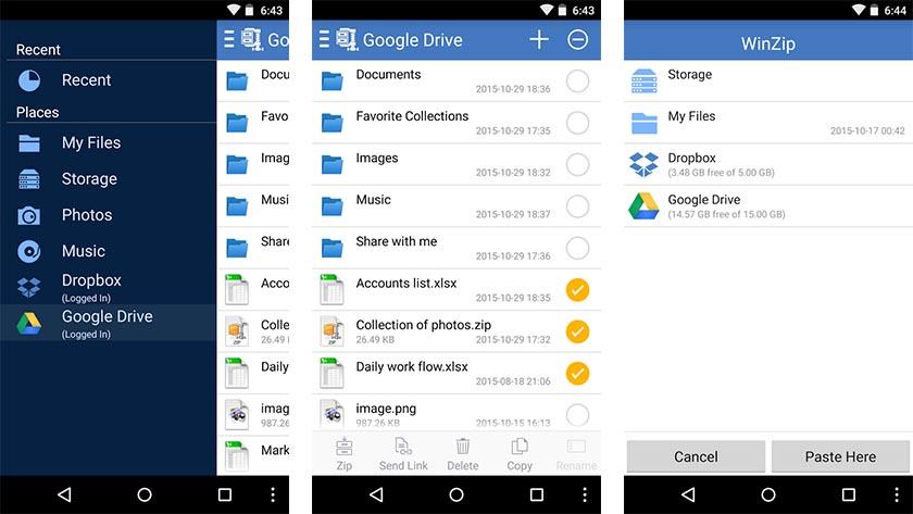 Aprire file ZIP e RAR su Android con Winzip