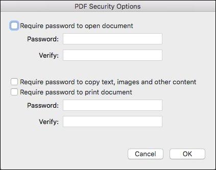 Come Creare un File PDF su Mac - Opzioni Sicurezza