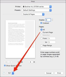 Come Creare un File PDF su Mac - Schermata Stampa