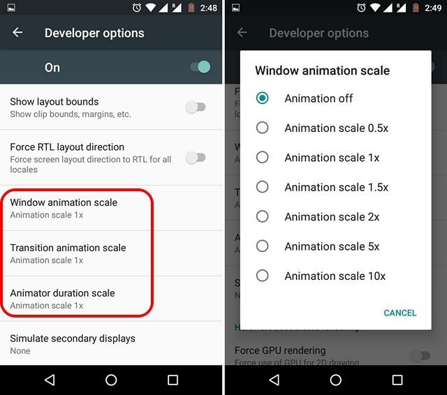 Liberare la RAM su Android - Disabilitare animazioni e transizioni