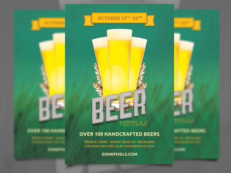 Template per Flyer in PSD da Scaricare Gratis - Beer Festival