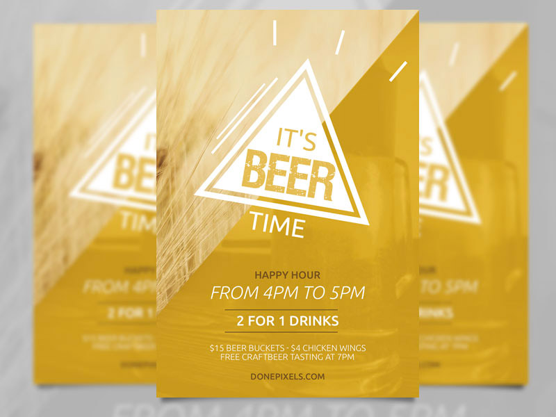 Template per Flyer in PSD da Scaricare Gratis - Beer Time