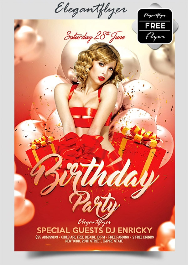 Template per Flyer in PSD da Scaricare Gratis - Birthday Party