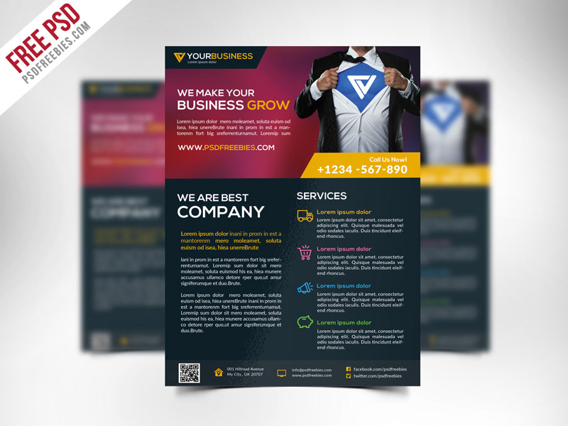 Template per Flyer in PSD da Scaricare Gratis - Corporate Business