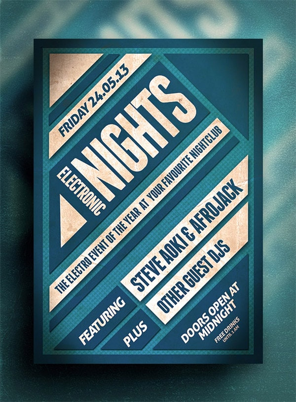 Template per Flyer in PSD da Scaricare Gratis - Electronic Nights