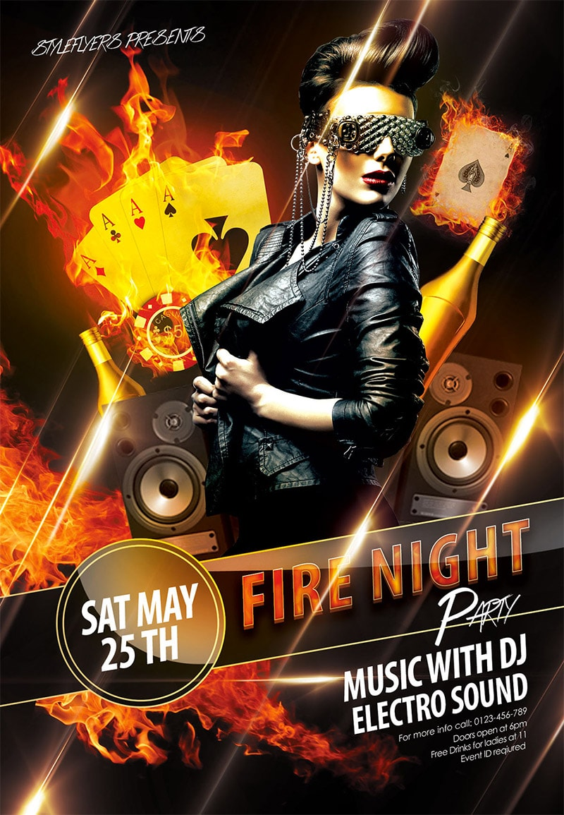 Template per Flyer in PSD da Scaricare Gratis - Fire Night Party