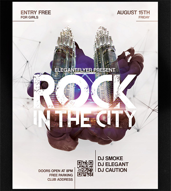 Template per Flyer in PSD da Scaricare Gratis - Rock In The City
