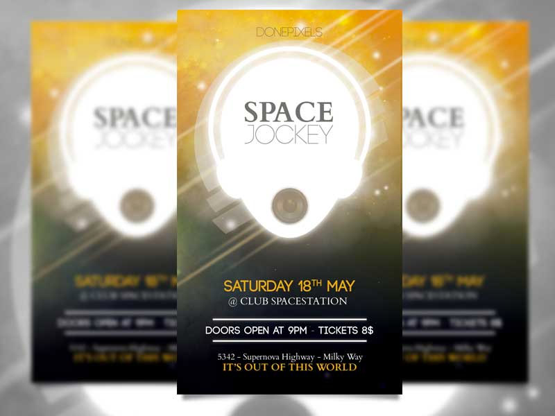 Template per Flyer in PSD da Scaricare Gratis - Space Jockey