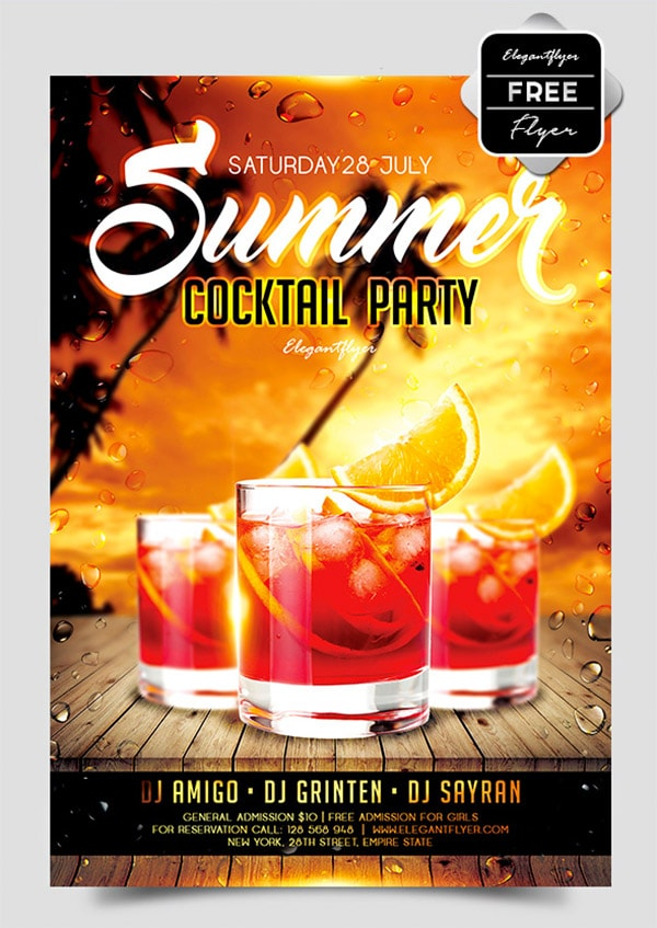 Template per Flyer in PSD da Scaricare Gratis - Summer Cocktail Party