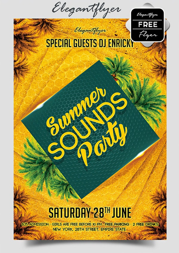 Template per Flyer in PSD da Scaricare Gratis - Summer Sounds