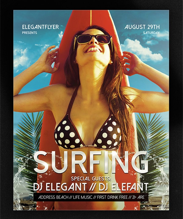 Template per Flyer in PSD da Scaricare Gratis - Surfing