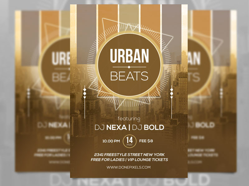 Template per Flyer in PSD da Scaricare Gratis - Urban Beats