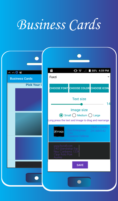 Schermate dell'app Business Card Maker by Nithra per Android