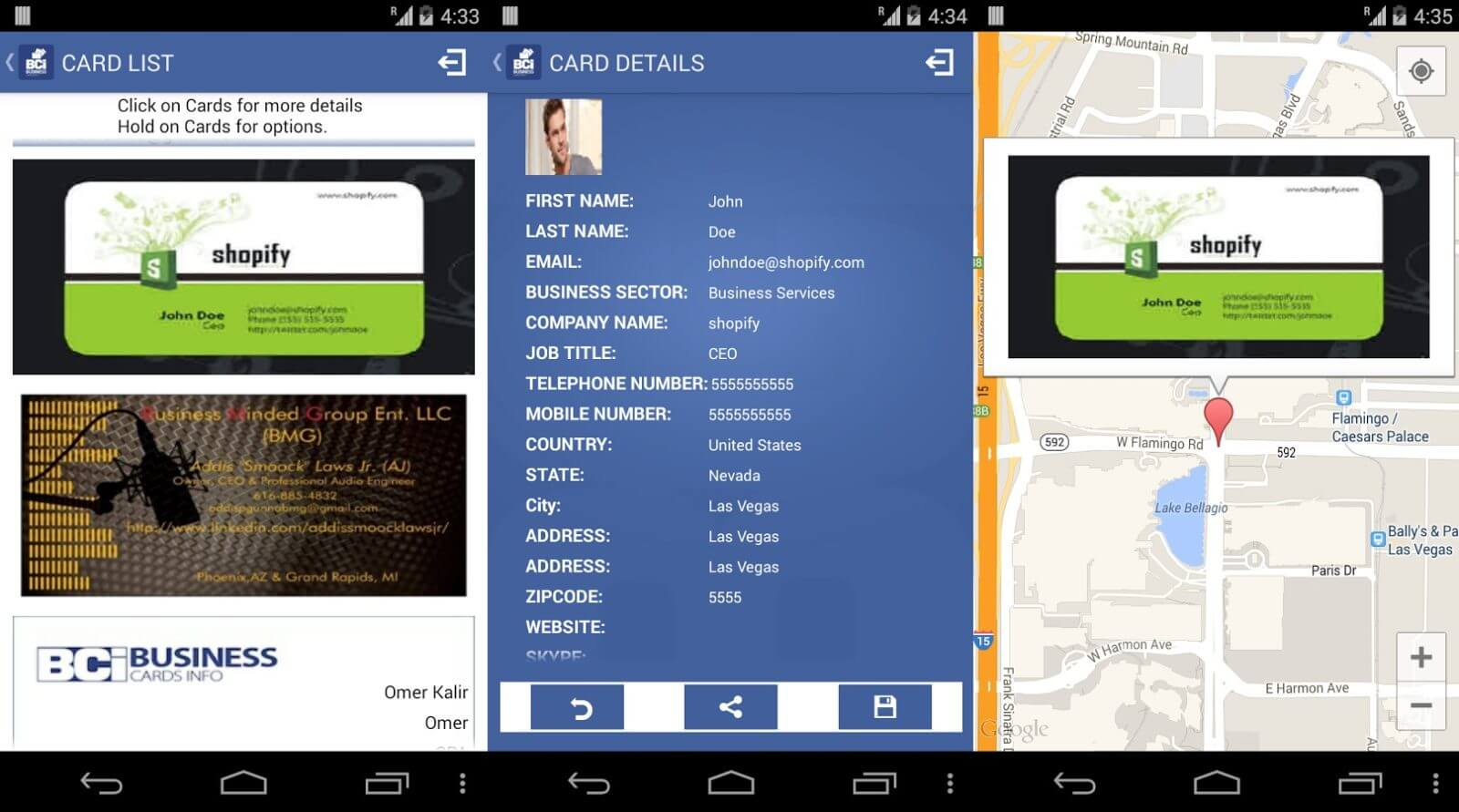 Schermate dell'app Business Card Info per Android