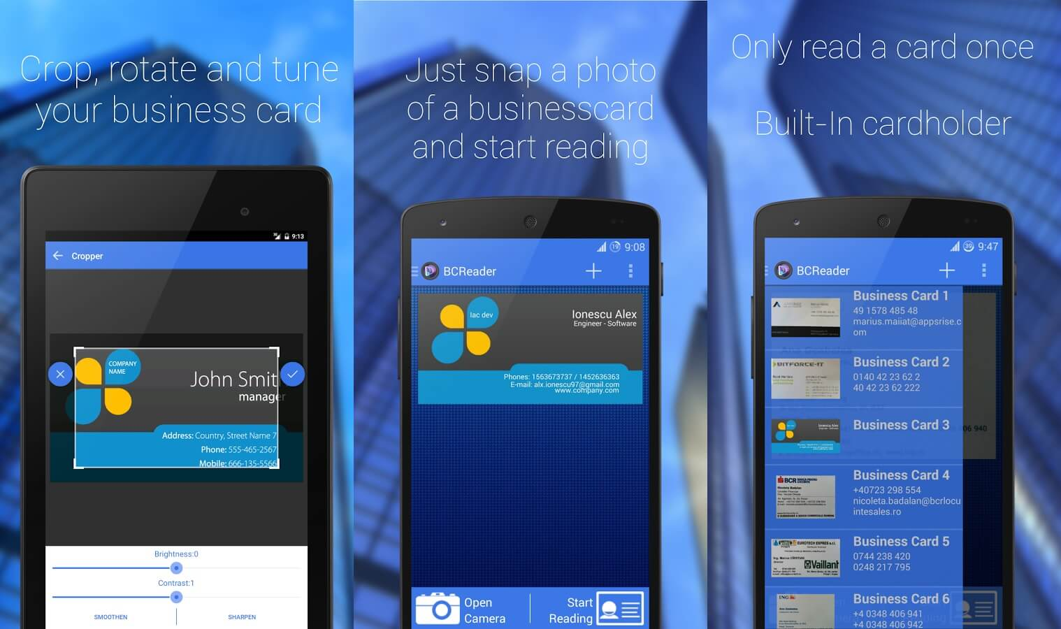 Schermate dell'app Business Card Reader per Android