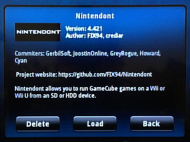 Schermata del programma Nintendont