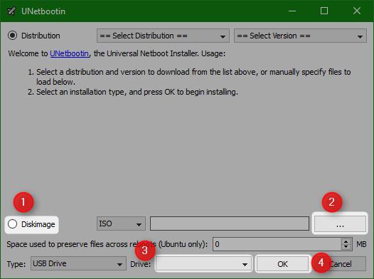Schermata del programma UNetbootin