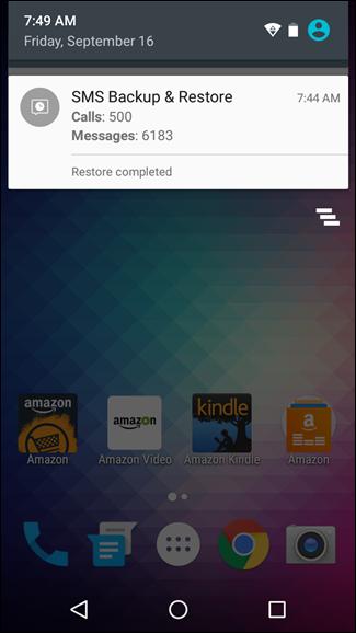 Come Trasferire gli SMS tra due Telefoni Android con SMS Backup & Restore - Messaggio di conferma